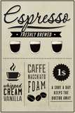 Espresso Freshly Brewed (cream) Plastic Sign by  Lantern Press