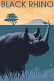 Black Rhino - Lithograph Series Plastikskilte af Lantern Press