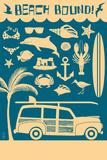 Coastal Icons Plastic Sign by  Lantern Press