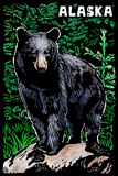 Alaska - Black Bear - Scratchboard Plastic Sign by  Lantern Press