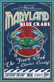Charles County, Maryland - Blue Crab Vintage Sign Plastic Sign by  Lantern Press
