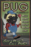 Pug - Retro Plumbing Ad Plastic Sign by  Lantern Press