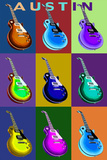 Austin, Texas - Guitar Pop Art Plastic Sign by  Lantern Press