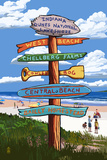 Indiana Dunes National Seashore, Indiana - Destination Signpost Plastic Sign by  Lantern Press