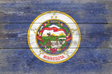 Minnesota State Flag - Barnwood Painting Plastic Sign by  Lantern Press