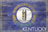 Kentucky State Flag - Barnwood Painting Plastic Sign by  Lantern Press