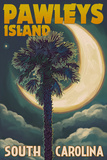 Pawleys Island, South Carolina - Palmetto Moon and Palm Plastic Sign by  Lantern Press