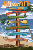 Waikiki Beach, Hawai'i - Signpost Destinations Plastic Sign by  Lantern Press