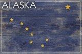 Alaska State Flag - Barnwood Painting Plastic Sign by  Lantern Press