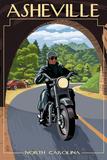 Asheville, North Carolina - Motorcycle Scene Plastic Sign by  Lantern Press