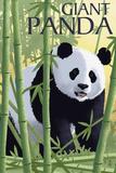Giant Panda - Lithograph Series Plastic Sign by  Lantern Press