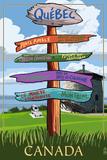 Quebec, Canada - Signpost Destinations Plastic Sign by  Lantern Press