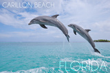 Carillon Beach, Florida - Jumping Dolphins Wall Mural by  Lantern Press