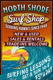 North Shore, Hawai'i - Surf Shop Vintage Sign Plastic Sign by  Lantern Press