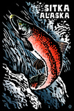 Sitka, Alaska - Sockeye Salmon - Scratchboard Plastic Sign by  Lantern Press