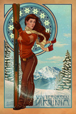 Wintergreen, Virginia - Art Nouveau Skier Plastic Sign by  Lantern Press