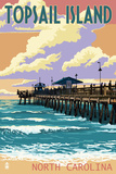 Topsail Island, North Carolina - Pier and Sunset Plastic Sign by  Lantern Press