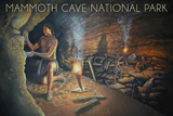 Mammoth Cave, Kentucky - Original Cave Painting Plastic Sign by  Lantern Press