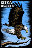 Sitka, Alaska - Bald Eagle - Scratchboard Plastic Sign by  Lantern Press