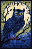 Vermont - Owl Mosaic Plastic Sign by  Lantern Press