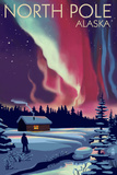 North Pole, Alaska - Northern Lights and Cabin Plastic Sign by  Lantern Press