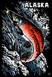 Alaska - Sockeye Salmon - Scratchboard Plastic Sign by  Lantern Press