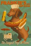 Dachshund - Retro Hotdog Ad Plastskilt av  Lantern Press