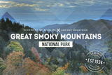 Great Smoky Mountains - Day - Rubber Stamp Plastic Sign by  Lantern Press