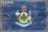 Maine State Flag - Barnwood Painting Plastic Sign by  Lantern Press