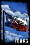 Texas Flag  - Scratchboard Plastic Sign by  Lantern Press