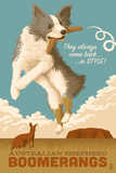 Australian Shepherd - Retro Boomerang Ad Plastic Sign by  Lantern Press