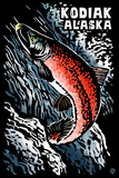 Kodiak, Alaska - Salmon Scratchboard Plastic Sign by  Lantern Press
