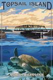 Topsail Island, North Carolina - Bridge View Plastic Sign by  Lantern Press