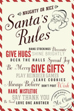 Santa's Rules Typography Plastic Sign by  Lantern Press