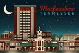 Murfreesboro, Tennessee - Retro Style Skyline Plastic Sign by  Lantern Press