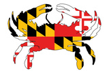 Maryland - Crab Flag Plastic Sign by  Lantern Press