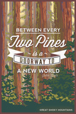 John Muir - Between Every Two Pines - Great Smoky Mountains - Forest View Plastic Sign by  Lantern Press