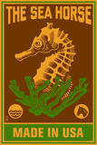 Seahorse Woodblock (Red and Green) Plastic Sign by  Lantern Press
