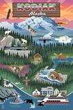 Kodiak, Alaska - Retro Scenes Plastic Sign by  Lantern Press