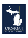 University of Michigan State Map Posters af Lulu