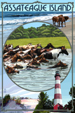 Assateague Island - Montage Plastic Sign by  Lantern Press