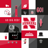 Nebraska Cornhuskers Collage Posters by  Lulu