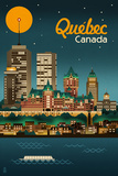 Quebec, Canada - Retro Skyline Plastic Sign by  Lantern Press