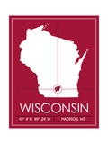University of Wisconsin State Map Prints by  Lulu