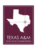 Texas A&M University State Map Pôsters por  Lulu