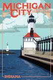 Indiana - Michigan City Lighthouse Plastic Sign by  Lantern Press