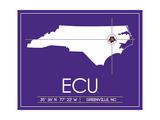 East Carolina University State Map Art by  Lulu