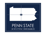Penn State University State Map Prints by  Lulu