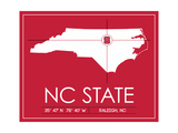 NC State University State Map Plakater af  Lulu