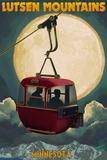 Lutsen Mountains - Gondola and Moon Plastic Sign by  Lantern Press